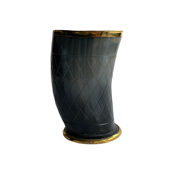 HORN GLASS WITH BRASS BEADING 6
