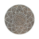"MANGO WOOD CARVED WALL HANG 8"" - ROUND #1"