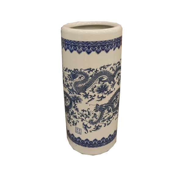 UMBRELLA STAND BLUE & WHITE PORCELAIN DRAGON 19