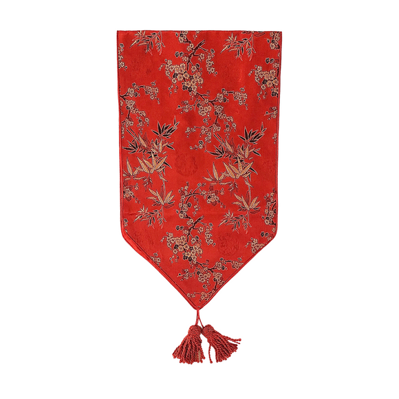 BROCADE TABLE RUNNER 2.5M BAMBOO RED