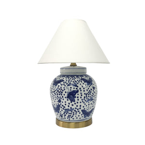 LAMP BLUE & WHITE BUTTERFLY