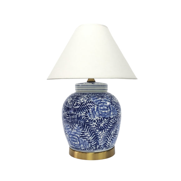 LAMP BLUE & WHITE FERN