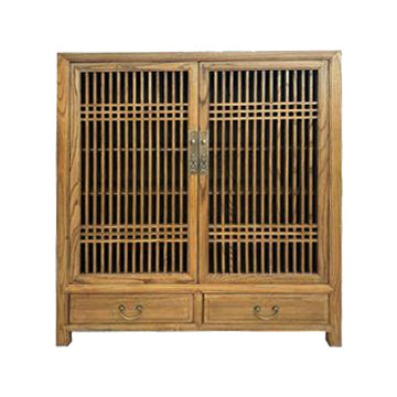 CABINET LATTICE 2DW2DR LIGHT WOOD MQZ-35