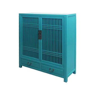 CABINET LATTICE 2DW2DR TURQUOISE MQZ-35
