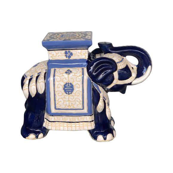 CERAMIC ELEPHANT WHITE BLUE #201908