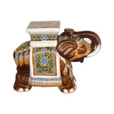 CERAMIC ELEPHANT WHITE BROWN #201908