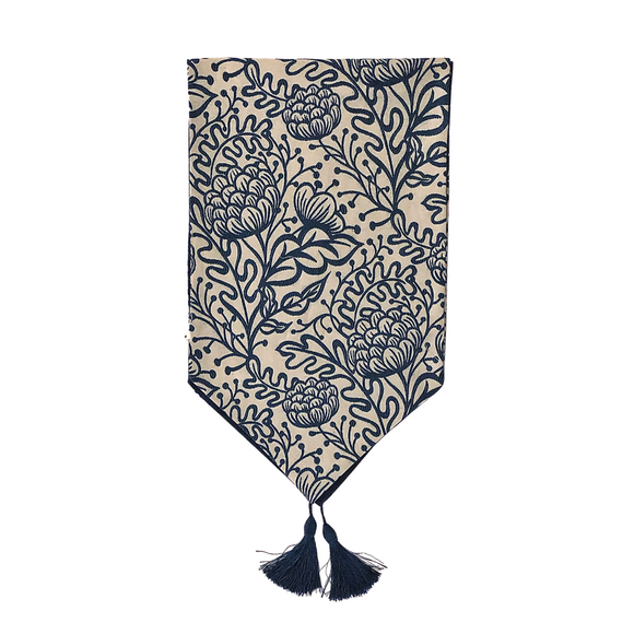 TABLE RUNNER 2.5MT EMB FLEUR NAVY