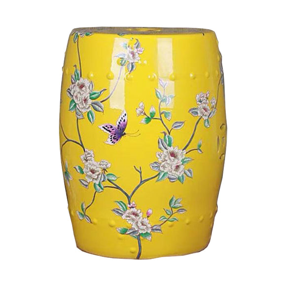 DRUM STOOL FLORAL YELLOW