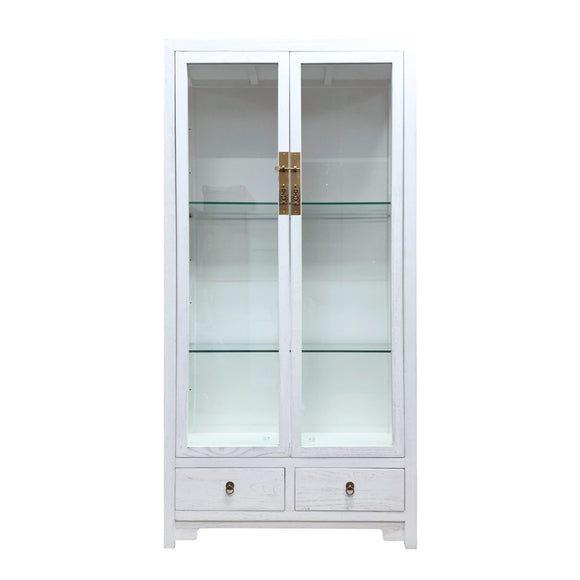GLASS CABINET WHITE WASH MQZ-16