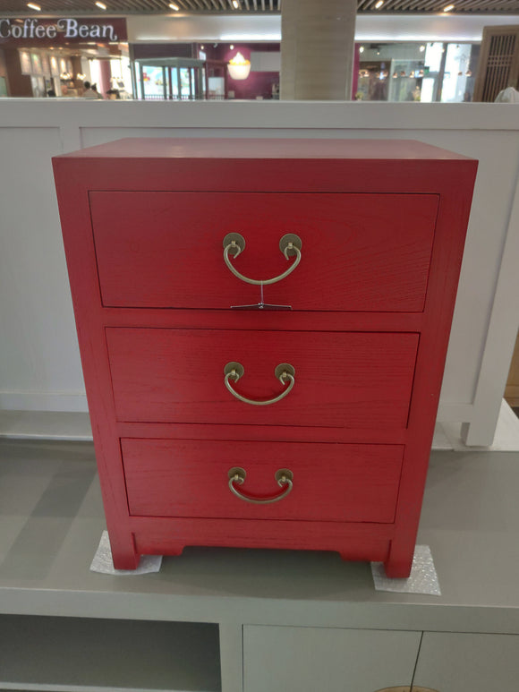 CABINET 3 DRAWER RED WASH 45 x 30 x 60cm