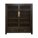 CABINET LATTICE 2DW2DR DARK WOOD MQZ-35