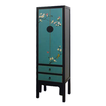 NARROW CABINET PAINTED FLEUR BLK FRAME TURQUOISE 3CH-006