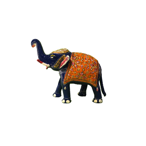 ELEPHANT ENAMEL UP TRUNK WHITE & BLUE 6