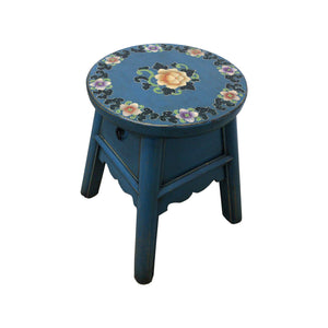 WOODEN STOOL FLORAL 1DW TURQUOISE 5CH-025