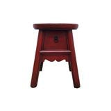 WOODEN STOOL FLORAL 1DW RED 5CH-025