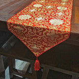BROCADE TABLE RUNNER 2.5M RED