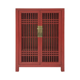 SHOE CABINET LATTICE 2DR RED WASH MQZ-07