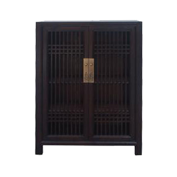 SHOE CABINET LATTICE 2DR DARK WOOD MQZ-07