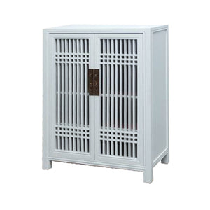 SHOE CABINET LATTICE 2DR WHITE MQZ-07