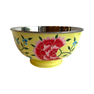 STEEL HAND PAINTED SALAD BOWL 20CM YELLOW