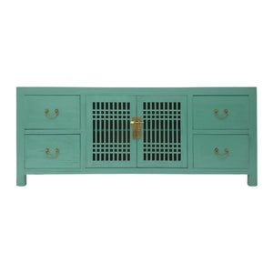 TV CONSOLE LATTICE 1.6M TURQUOISE WASH MQZ-28