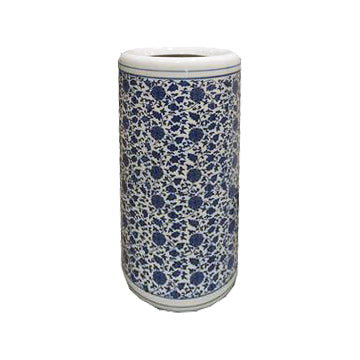 UMBRELLA STAND BLUE & WHITE PORCELAIN GOULIAN FLOWER 19