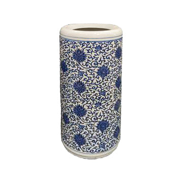 UMBRELLA STAND BLUE & WHITE PORCELAIN LOTUS 19