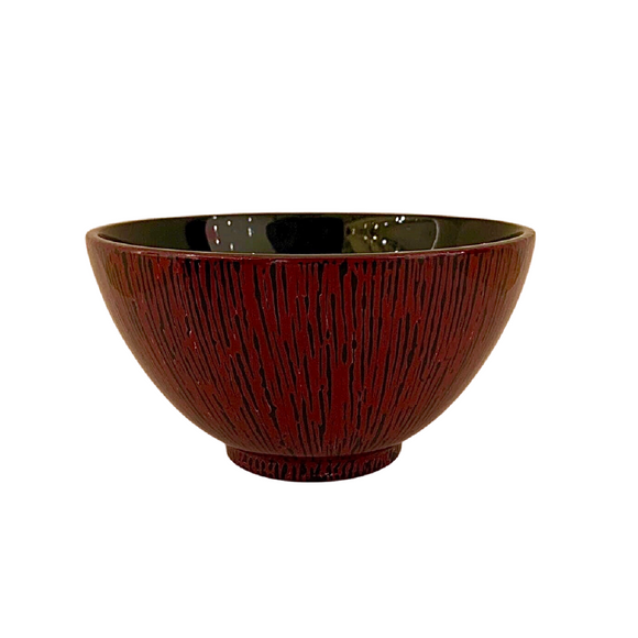 LACQUER BOWL STRIPE RED