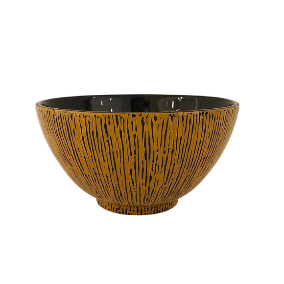 LACQUER BOWL STRIPE YELLOW