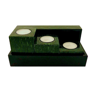 LACQUER CANDLE HOLDER SQUARE STRIPE GREEN