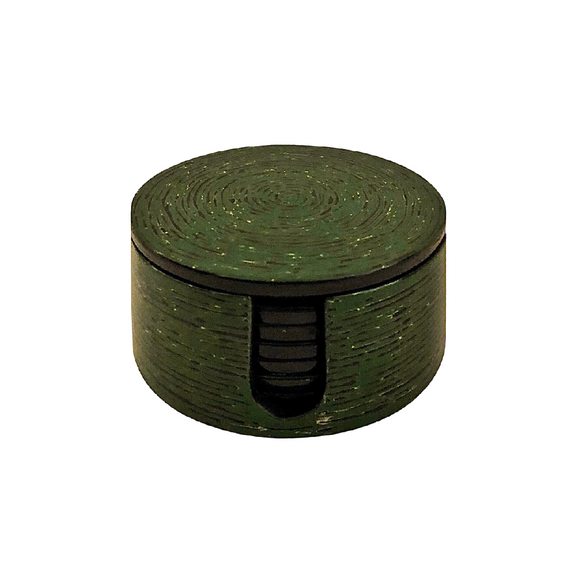 LACQUER ROUND COASTER STRIPE GREEN