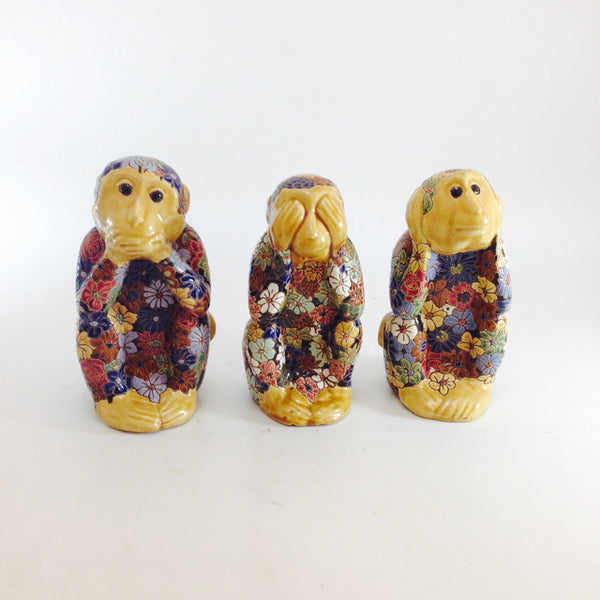 CERAMIC 3 MONKEY FLOWER SET OF 3