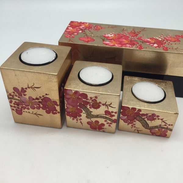 LACQUER CANDLE TRAVEL SET RED CHERRY BLOSSOM
