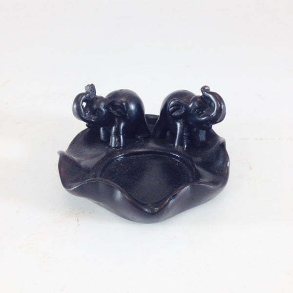 INCENSE HOLDER 2 ELEPHANT BLACK