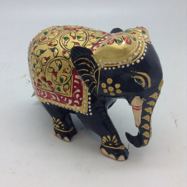 WOOD ELEPHANT FLOWER PAINTED 4""