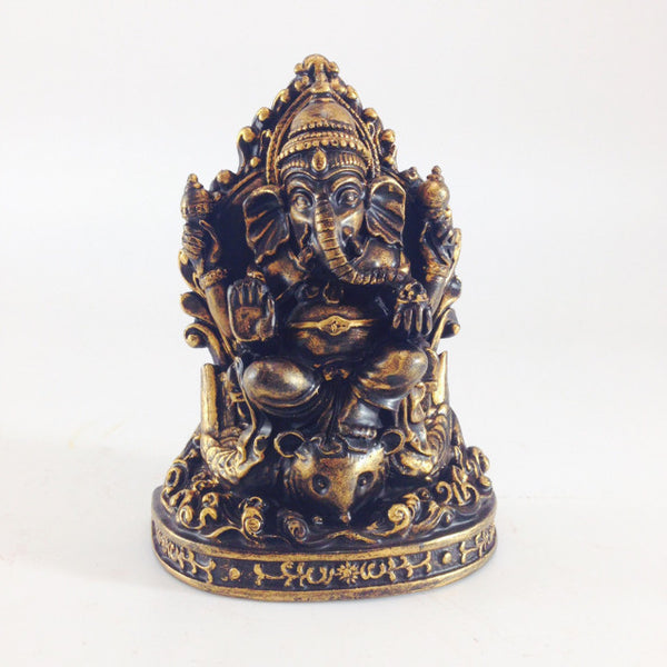 GANESHA THRONE BLACK GOLD 6""