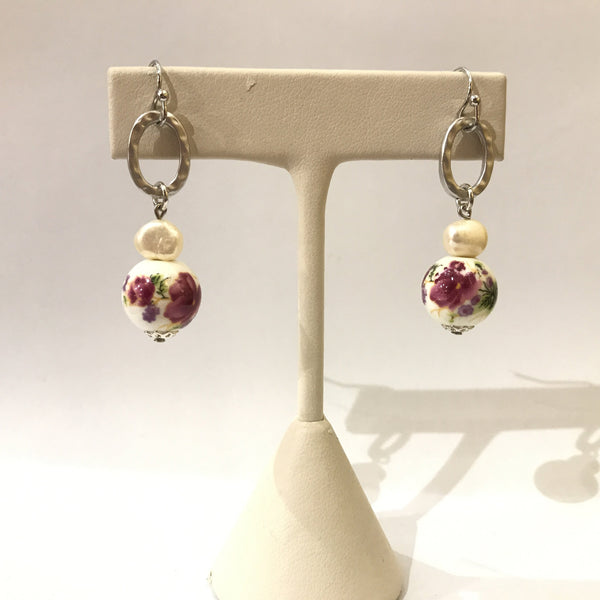 IJ-47 925/WG FWP WITH PURPLE CERAMIC BEAD EARRING -C