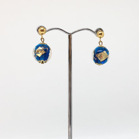 IJ-66 925/YG BLUE WITH GOLD GLASS BEAD EARRING