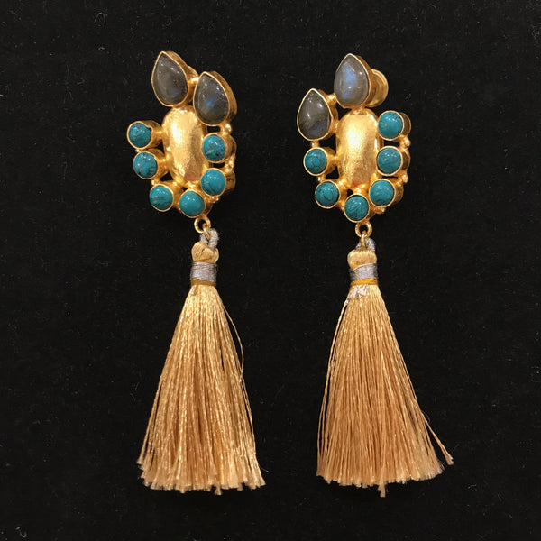 JT-1470  COPPER EARRING W LABRADORITE & TURQUOISE (GOLD)