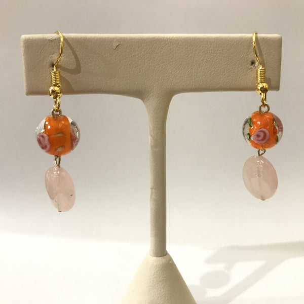 IJ-63 925/YG GLASS BEAD WITH ROSE QUARTZ EARRING -C
