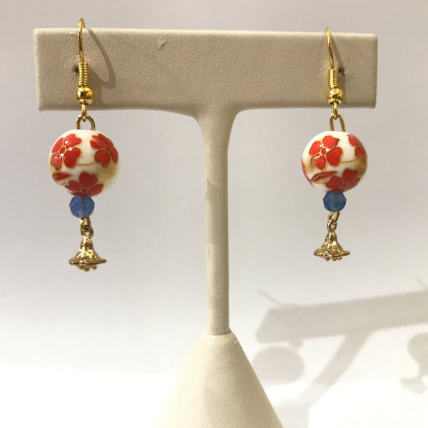 IJ-48 925/YG ORANGE CERAMIC BEAD WITH CHALCEDONY EARRING -C