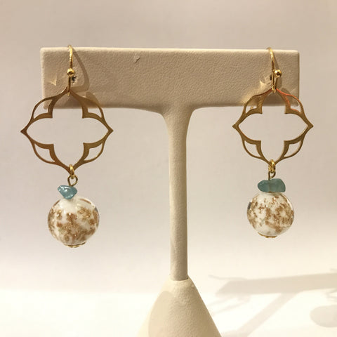 IJ-58 925/YG FLORITE WITH GOLD GLASS BEAD EARRING -C