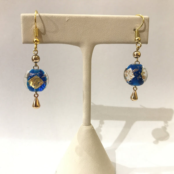 IJ-46 925/YG BLUE GLASS BEAD WITH GOLD EARRING -C