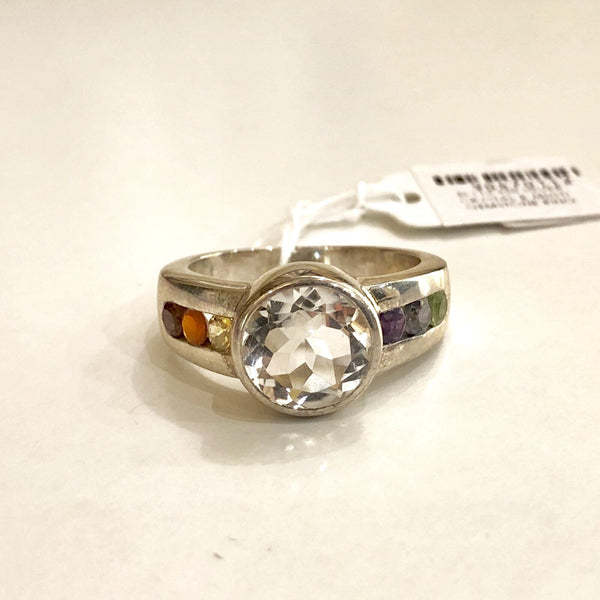 EI-112 925 SILVER CRYSTAL & MULTI GEMSTONE RING