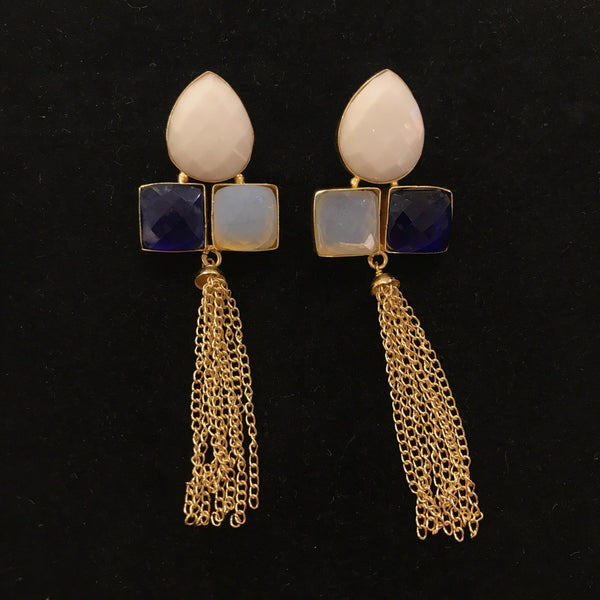 JT-1472  COPPER EARRING W WHITE AND BLUE AGATE