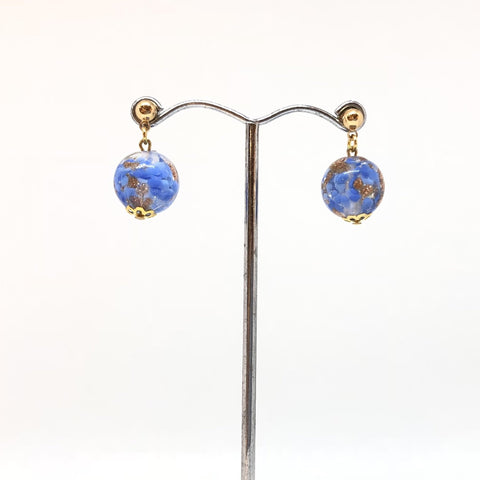 IJ-67 925/YG BLUE WITH GOLD GLASS BEAD EARRING