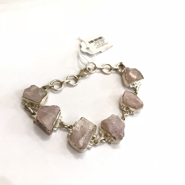 EI-77 925 SILVER MORGANITE ROUGH BRACELET