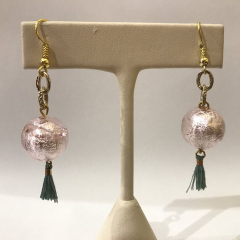 IJ-57 925/YG PINK GLASS BEAD WITH TASSEL EARRING -C