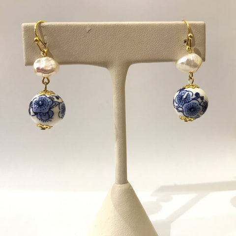 IJ-60 925/YG CERAMIC BEAD WITH FWP EARRING -C