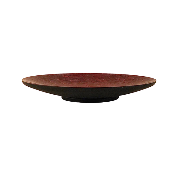 LACQUER DISH D25CM STRIPE RED